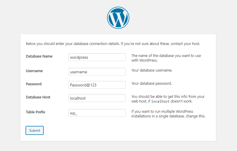 WordPress installation page 3 requirement