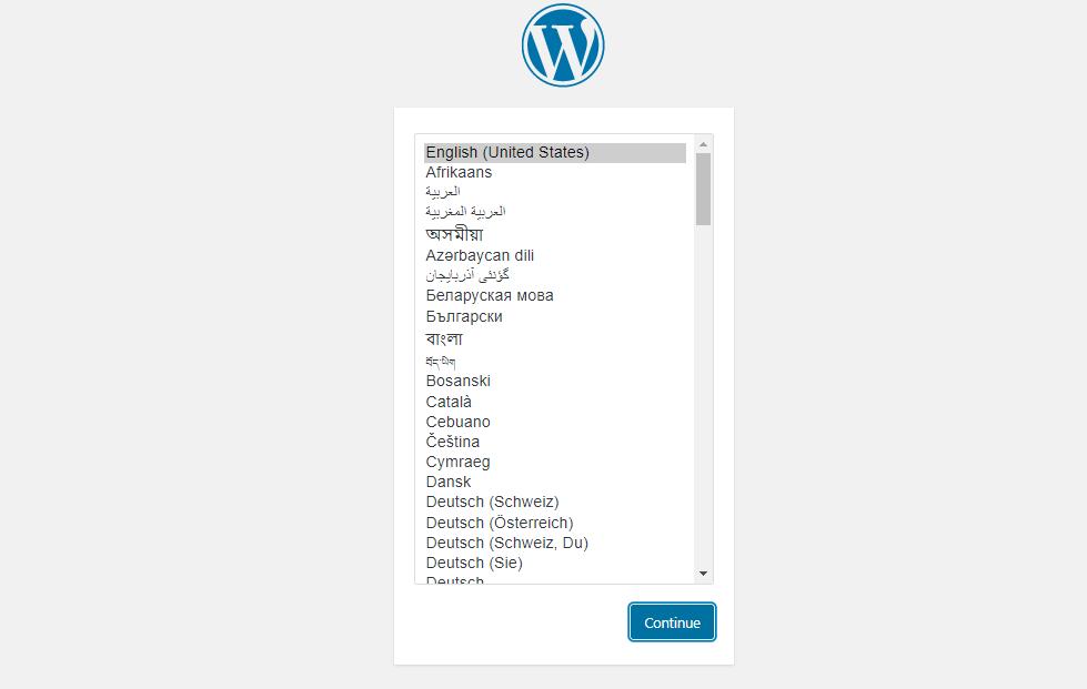 WordPress installation page 1 language