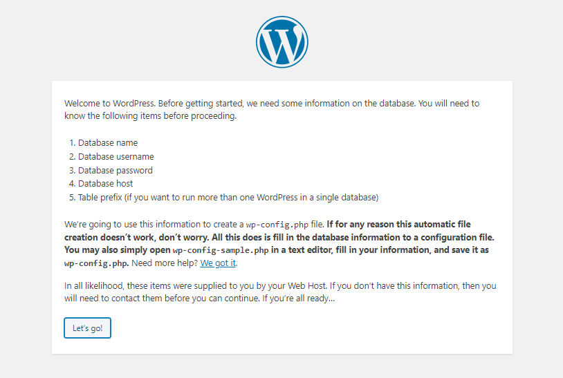WordPress installation page 2 requirement