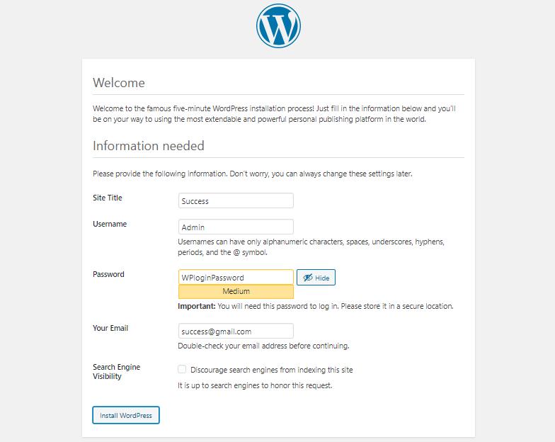 WordPress installation page 5 site title WP login