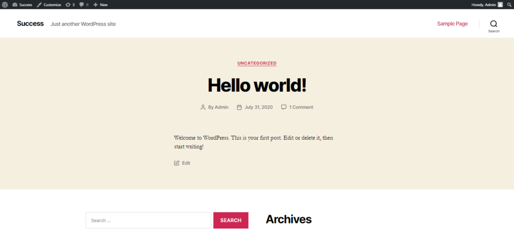 WP site/ blog page