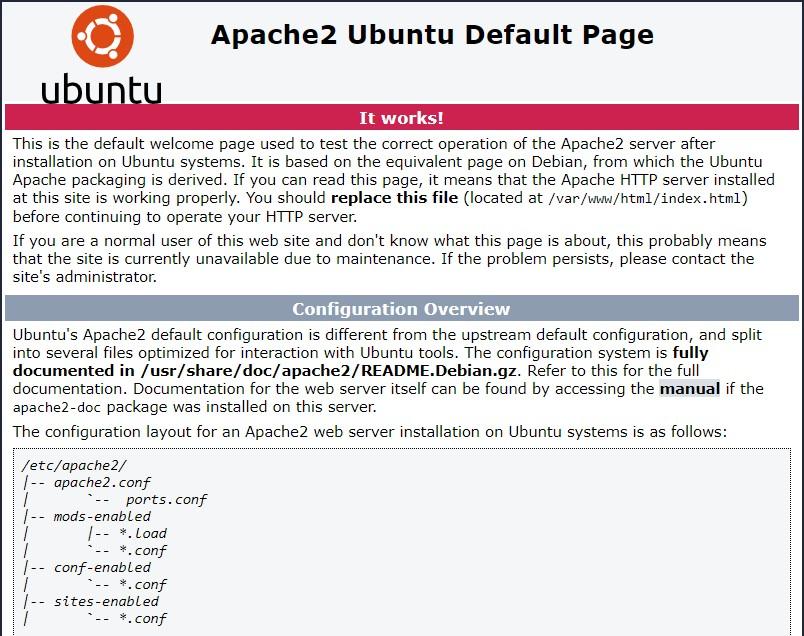 Apache2 default page it works