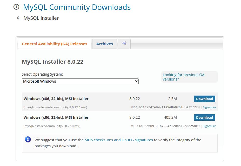 MySQL Installer Download