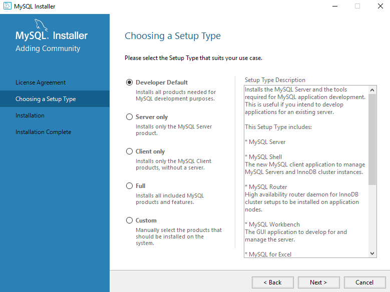 Choosing a Setup Type