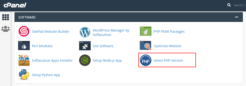 cPanel > Select PHP Version